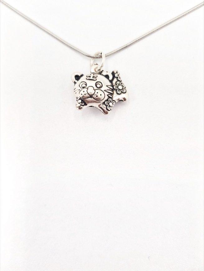 Chinesische Glück Katze Silber Anhänger 2