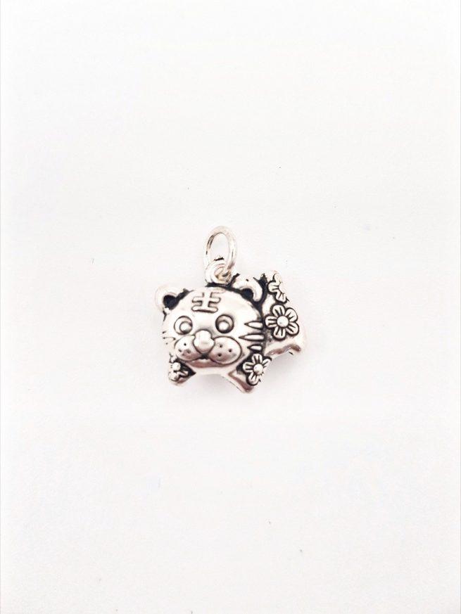 Chinesische Glück Katze Silber Anhänger 1