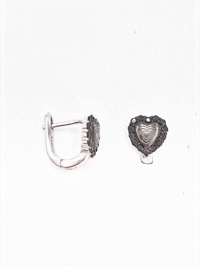 Black Heart Silber Ohrringe 2