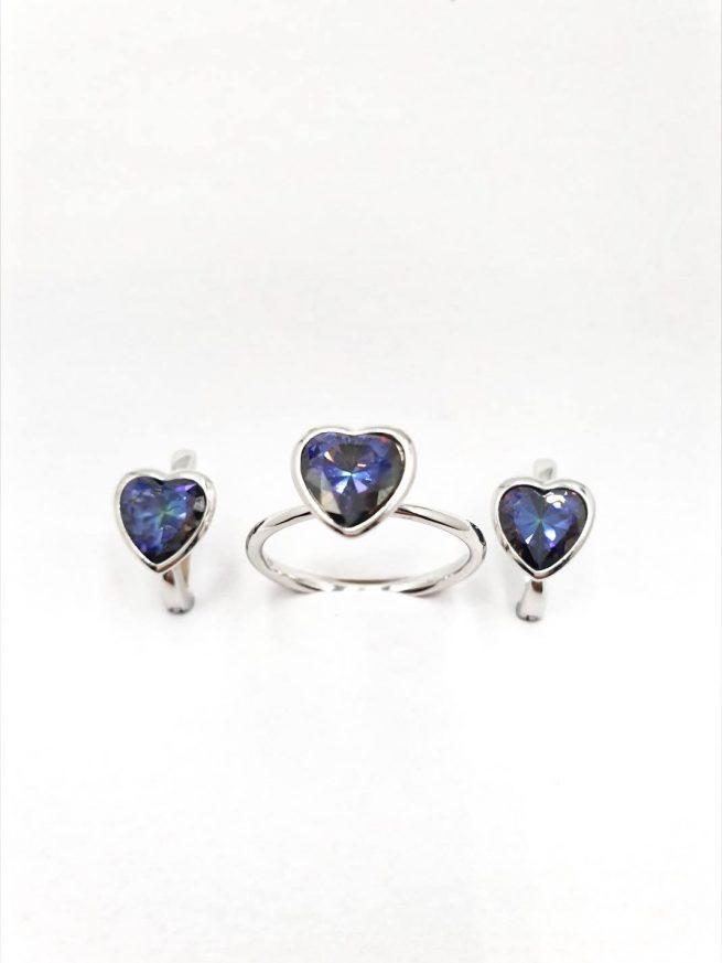 Love Silber Set | Ring+Ohrringe+ Halsette mit Anhänger 1