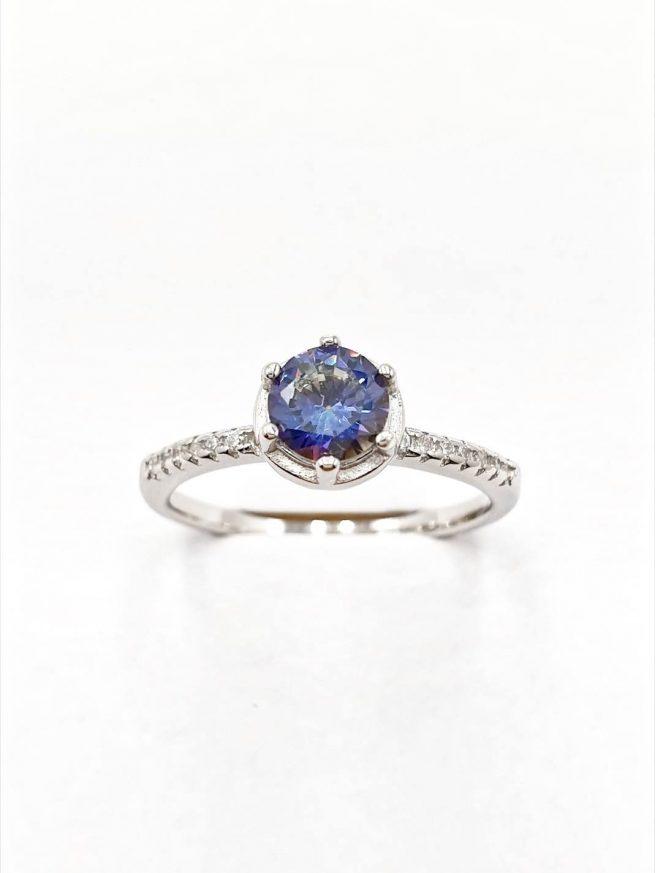 Silber Ring mit eingelegtem blauen Kristall 1