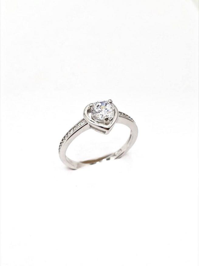 Love Silber Ring mit Kristall 1