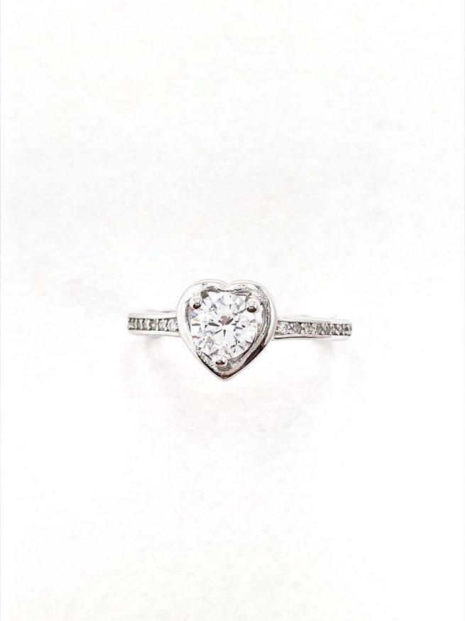 Love Silber Ring mit Kristall 3
