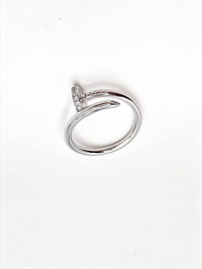 Nagel Silber Ring mit Zirkonia Stein 2