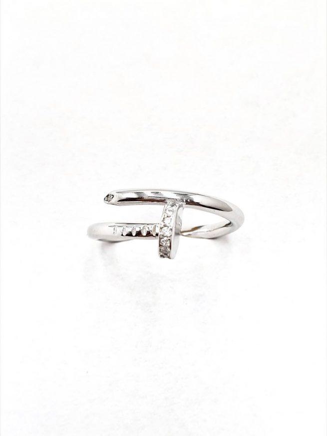 Nagel Silber Ring mit Zirkonia Stein 1