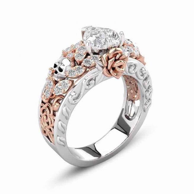 Modischer Ring Rose & Tote Kopf 1