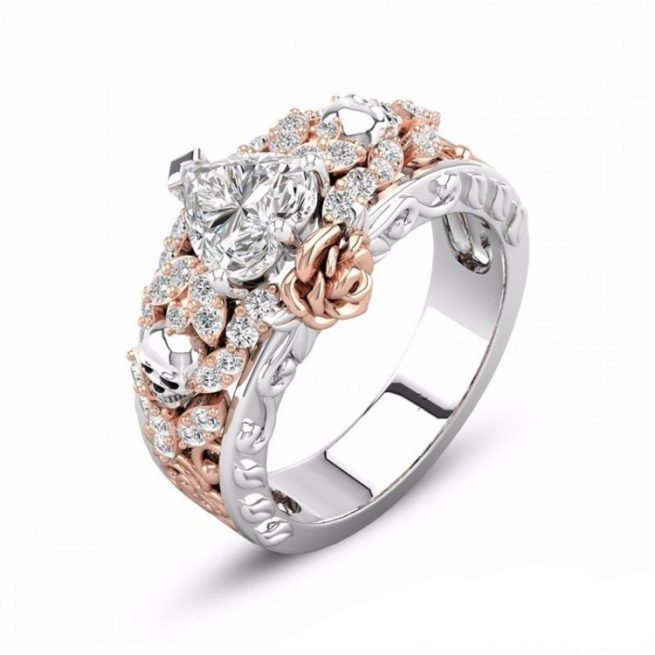 Modischer Ring Rose & Tote Kopf 2