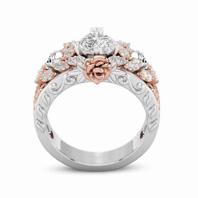 Modischer Ring Rose & Tote Kopf 3